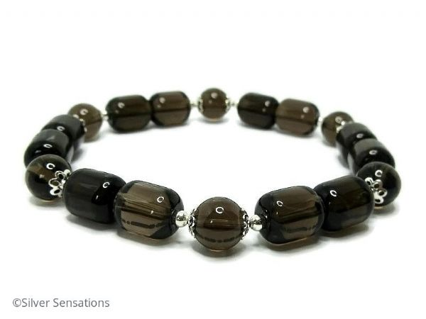 Dark Brown Smokey Quartz Beaded Unisex Bracelet With Sterling Silver | Silver Sensations
